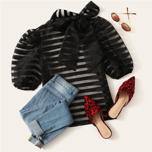 Black Tie Neck Puff Sleeve Striped Sheer Top Without Bra Mesh Blouse for Women - Funs & Good Women's fashion including dresses, T-shirts, sweatshirts, hoodies, leggings, skirts, bodysuits and more.