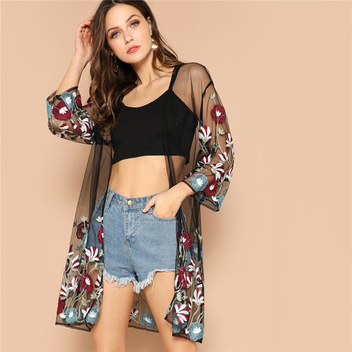 Multicolor Flower Embroidery Mesh Sheer Boho Longline Kimono Cardigan for Women - Funs & Good Women's fashion including dresses, T-shirts, sweatshirts, hoodies, leggings, skirts, bodysuits and more.