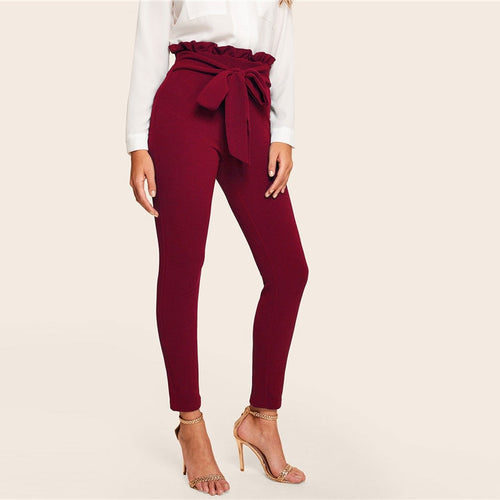 Burgundy & Frill Trim Bow Belted Detail Solid High Waist Pants for Women - Funs & Good Women's fashion including dresses, T-shirts, sweatshirts, hoodies, leggings, skirts, bodysuits and more.