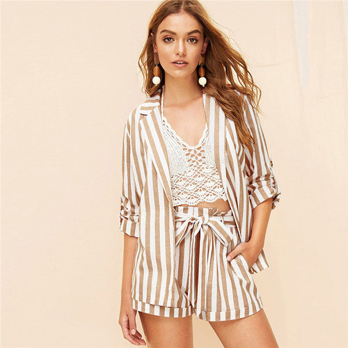 Khaki Notched Collar Vertical-Stripe Roll Up Sleeve Blazer or Belted Shorts for Lady - Funs & Good Women's fashion including dresses, T-shirts, sweatshirts, hoodies, leggings, skirts, bodysuits and more.