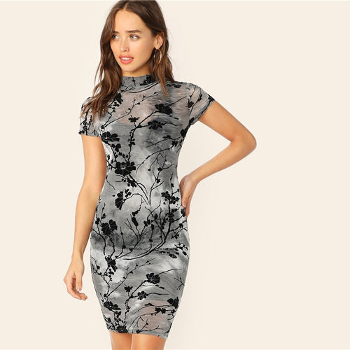 Chinese Style Grey Ink Painting Sheer Bodycon Pencil Summer Dress for Women (Stand Collar Short Sleeve Slim Dresses) - Funs & Good Women's fashion including dresses, T-shirts, sweatshirts, hoodies, leggings, skirts, bodysuits and more.