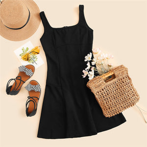Black Fit And Flare Solid Dress for Women (Straps Sleeveless Plain A Line Dresses) - Funs & Good Women's fashion including dresses, T-shirts, sweatshirts, hoodies, leggings, skirts, bodysuits and more.