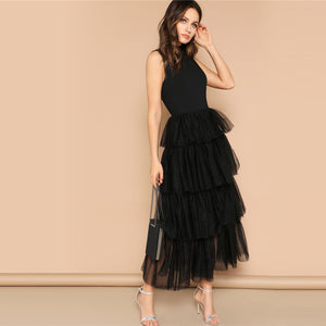 Glamorous Black Mixed Media Layered Contrast Mesh Ruffle Long Dress for Lady (Mock-neck Sleeveless Dresses) - Funs & Good Women's fashion including dresses, T-shirts, sweatshirts, hoodies, leggings, skirts, bodysuits and more.
