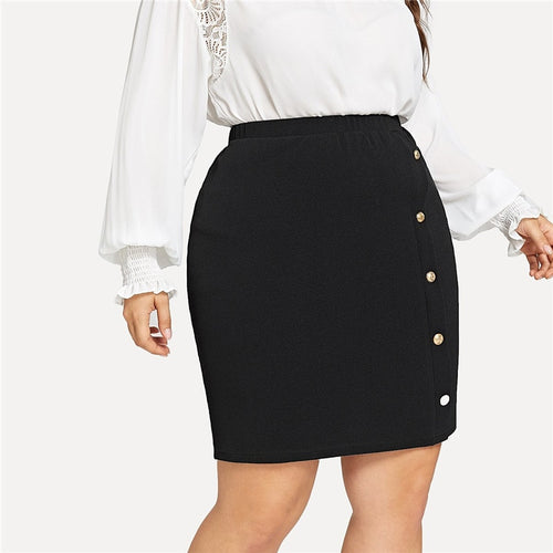 Gold Button Detail Textured Plus Size Black Short Skirts - Funs & Good Women's fashion including dresses, T-shirts, sweatshirts, hoodies, leggings, skirts, bodysuits and more.