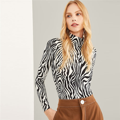 Black And White High Neck Zebra Print Pullovers Long Sleeve T-shirt for Women - Funs & Good Women's fashion including dresses, T-shirts, sweatshirts, hoodies, leggings, skirts, bodysuits and more.