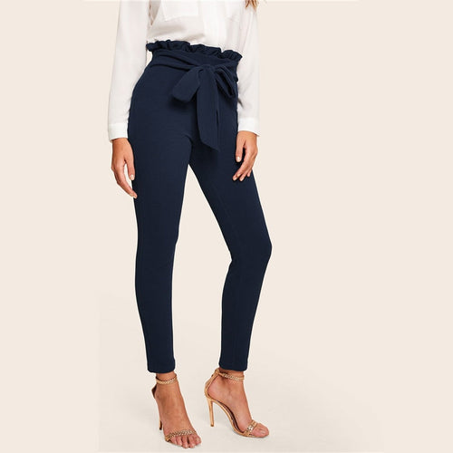 Navy & Paper bag Waist Belted Detail Solid High Waist Pants for Women - Funs & Good Women's fashion including dresses, T-shirts, sweatshirts, hoodies, leggings, skirts, bodysuits and more.