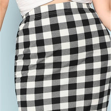 Load image into Gallery viewer, Black And White Plaid Plus Size Pencil Skirt for Women - Funs & Good Women's fashion including dresses, T-shirts, sweatshirts, hoodies, leggings, skirts, bodysuits and more.