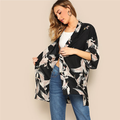 Bohemian Black Crane Bird Print Side Slit Long Kimono Cardigan for Women (3/4 Length Sleeve ) - Funs & Good Women's fashion including dresses, T-shirts, sweatshirts, hoodies, leggings, skirts, bodysuits and more.