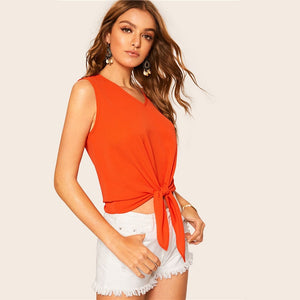Neon Orange Knot Front Tank Tops for Women - Funs & Good Women's fashion including dresses, T-shirts, sweatshirts, hoodies, leggings, skirts, bodysuits and more.