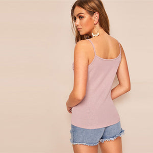 Pastel Pink Contrast Lace Appliques Solid Cami Top for Lady - Funs & Good Women's fashion including dresses, T-shirts, sweatshirts, hoodies, leggings, skirts, bodysuits and more.