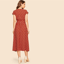 Load image into Gallery viewer, Rust Polka-dot Print Belted Shirt Button Dress for Women  (Cap Sleeve V Neck Long Solid Shift Dresses) - Funs & Good Women's fashion including dresses, T-shirts, sweatshirts, hoodies, leggings, skirts, bodysuits and more.