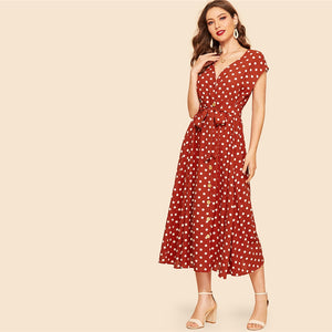 Rust Polka-dot Print Belted Shirt Button Dress for Women  (Cap Sleeve V Neck Long Solid Shift Dresses) - Funs & Good Women's fashion including dresses, T-shirts, sweatshirts, hoodies, leggings, skirts, bodysuits and more.