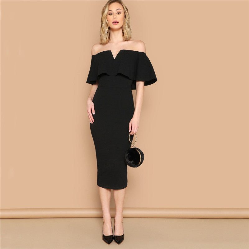 Black & Off The Shoulder Bodycon Dress for Women (Short Sleeve Ruffle Trim Glamorous Solid Pencil Midi Party Dress) - Funs & Good Women's fashion including dresses, T-shirts, sweatshirts, hoodies, leggings, skirts, bodysuits and more.