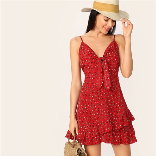 Red Knot Front Ditsy Floral Print Ruffle Dress for Women (Sleeveless, Spaghetti Strap High Waist Summer Dress) - Funs & Good Women's fashion including dresses, T-shirts, sweatshirts, hoodies, leggings, skirts, bodysuits and more.