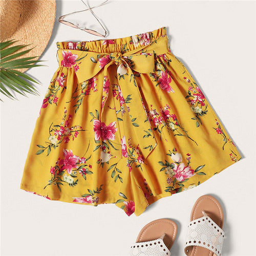 Ginger Boho Floral Print Paper bag Waist Belted Loose Shorts for Women - Funs & Good Women's fashion including dresses, T-shirts, sweatshirts, hoodies, leggings, skirts, bodysuits and more.