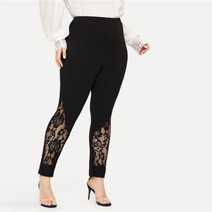 Black Casual Elastic Mid Waist Sheer Lace Insert Pencil Pants (Plus Size, Slim Fit Skinny Trousers) - Funs & Good Women's fashion including dresses, T-shirts, sweatshirts, hoodies, leggings, skirts, bodysuits and more.