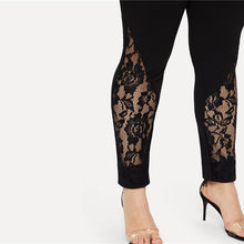Load image into Gallery viewer, Black Casual Elastic Mid Waist Sheer Lace Insert Pencil Pants (Plus Size, Slim Fit Skinny Trousers) - Funs & Good Women's fashion including dresses, T-shirts, sweatshirts, hoodies, leggings, skirts, bodysuits and more.