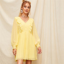 Load image into Gallery viewer, Romantic Yellow Buttoned Shirred Panel Ruffle Jacquard Pleated Flare Dress for Women (V Neck, A Line Sweet Dresses) - Funs & Good Women's fashion including dresses, T-shirts, sweatshirts, hoodies, leggings, skirts, bodysuits and more.