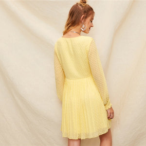Romantic Yellow Buttoned Shirred Panel Ruffle Jacquard Pleated Flare Dress for Women (V Neck, A Line Sweet Dresses) - Funs & Good Women's fashion including dresses, T-shirts, sweatshirts, hoodies, leggings, skirts, bodysuits and more.