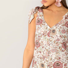 Load image into Gallery viewer, Boho Shoulder Knot Single Breasted Flower Print Mini Dress for Women (Cute Casual, Sleeveless, V Neck A Line Summer Dress) - Funs & Good Women's fashion including dresses, T-shirts, sweatshirts, hoodies, leggings, skirts, bodysuits and more.