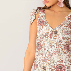 Boho Shoulder Knot Single Breasted Flower Print Mini Dress for Women (Cute Casual, Sleeveless, V Neck A Line Summer Dress) - Funs & Good Women's fashion including dresses, T-shirts, sweatshirts, hoodies, leggings, skirts, bodysuits and more.