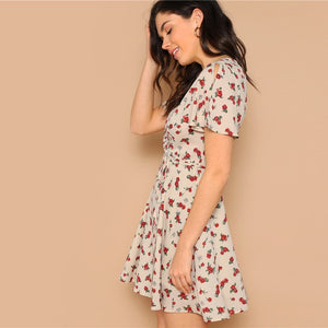 Apricot Belted Waist Split Sleeve Flower Print Wrap Dress for Women (V Neck Fit and Flare A Line Short Dresses) - Funs & Good Women's fashion including dresses, T-shirts, sweatshirts, hoodies, leggings, skirts, bodysuits and more.