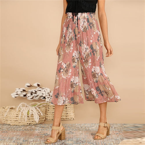 Boho Pink Frilled Waist Botanical Pleated Floral Culotte Pants for Women (Elastic Waist Mid Waist) - Funs & Good Women's fashion including dresses, T-shirts, sweatshirts, hoodies, leggings, skirts, bodysuits and more.