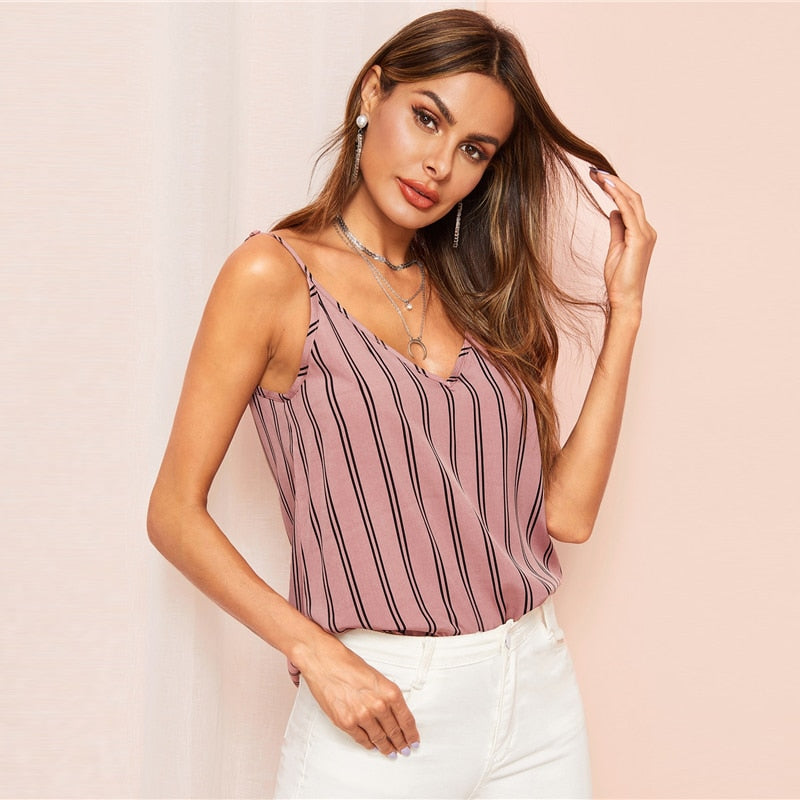 Bohemian Pink Double V-neck Vertical Stripe Camisole Top for Women - Funs & Good Women's fashion including dresses, T-shirts, sweatshirts, hoodies, leggings, skirts, bodysuits and more.