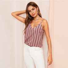Load image into Gallery viewer, Bohemian Pink Double V-neck Vertical Stripe Camisole Top for Women - Funs & Good Women's fashion including dresses, T-shirts, sweatshirts, hoodies, leggings, skirts, bodysuits and more.