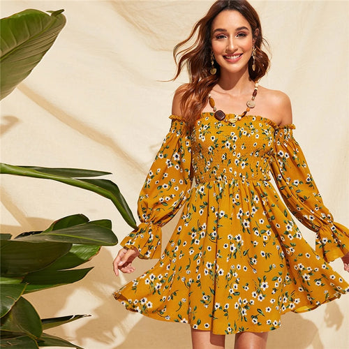 Shirred Bodice Floral Bardot Dress for Women (Yellow High Waist Fit And Flare Strapless) - Funs & Good Women's fashion including dresses, T-shirts, sweatshirts, hoodies, leggings, skirts, bodysuits and more.
