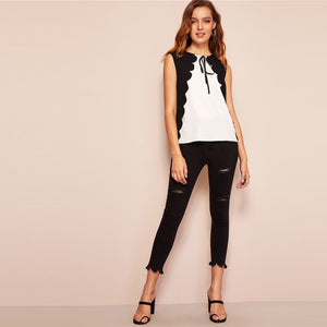 Black and White Two Tone Scalloped Trim Tie Front Button Sleeveless Blouse for Women - Funs & Good Women's fashion including dresses, T-shirts, sweatshirts, hoodies, leggings, skirts, bodysuits and more.