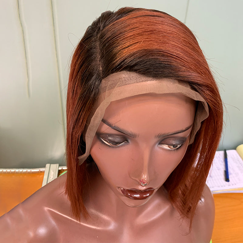 Fall Color Bob Wig Frontal Lace 100% Virgin Human Hair