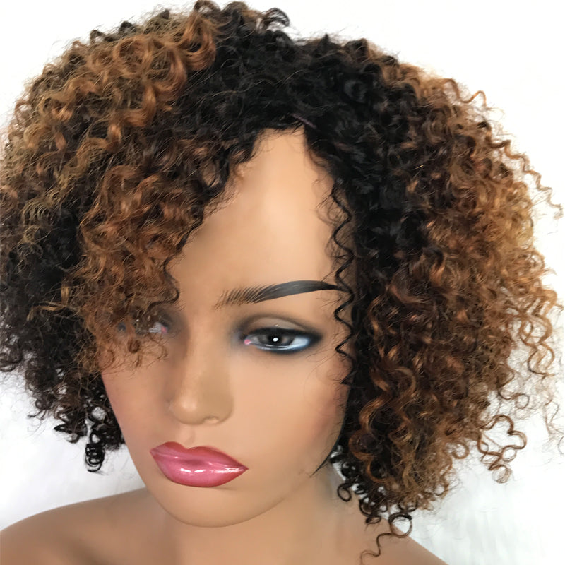 Special-Offer Weft Wig Afro Kinky Curl Mix Color Virgin Human Hair