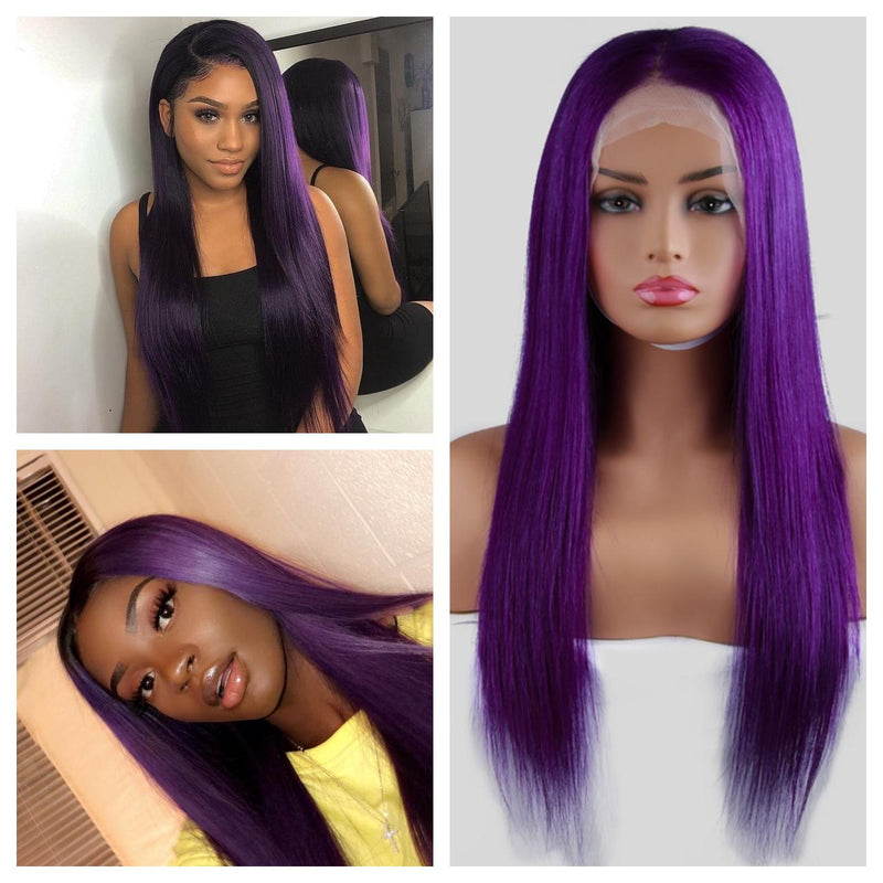 Purple Frontal Wig 100% Virgin Human Hair Wig Straight