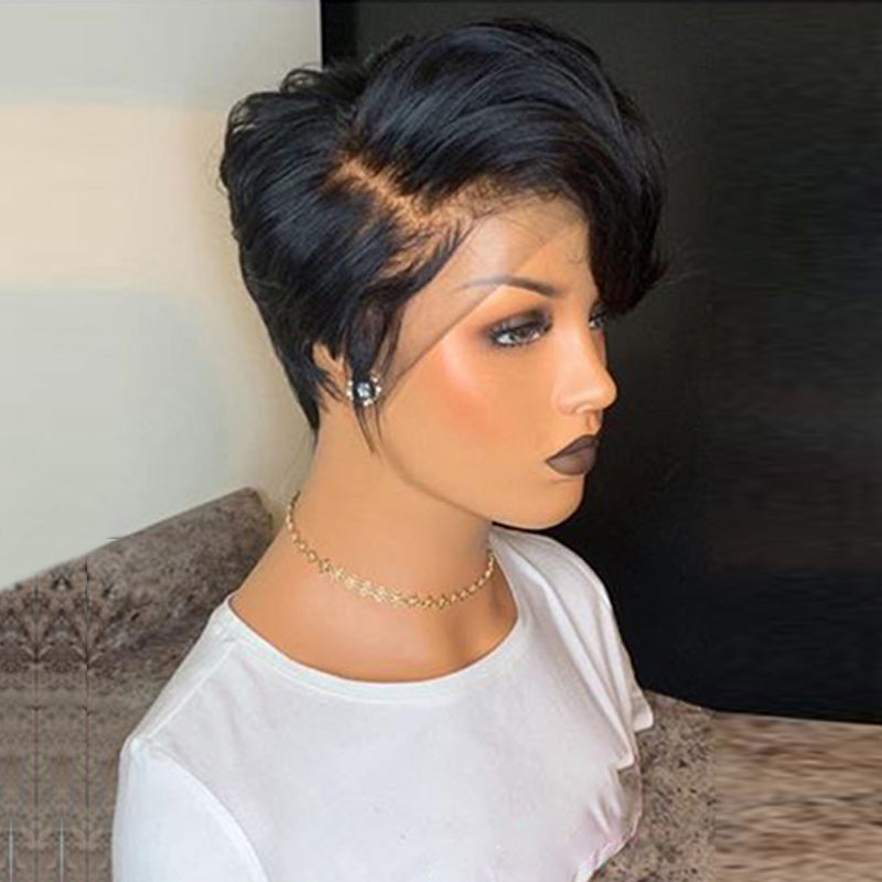 Full Lace Wig Short Pixie Cut Virgin Human Hair Straight