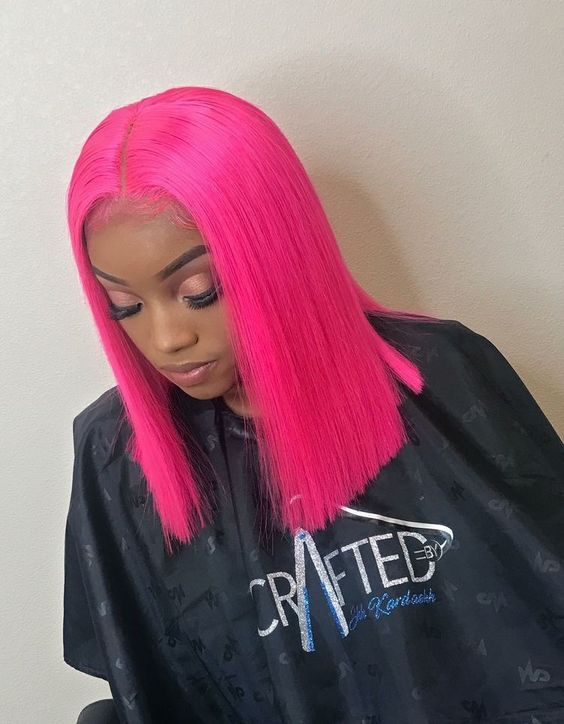 Neon Pink Closure Wig 100% Virgin Human Hair Bob Wig