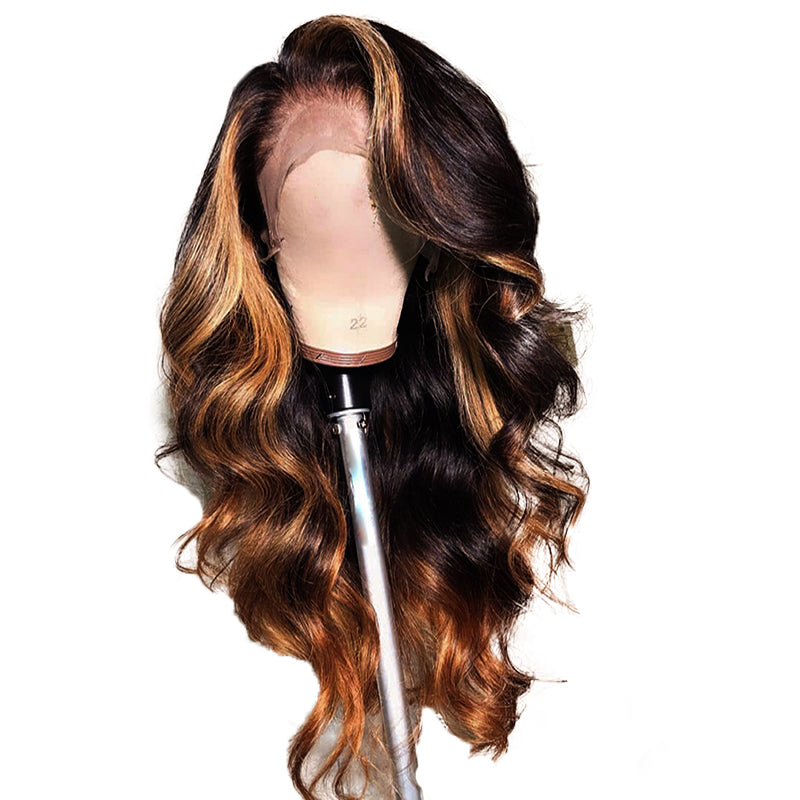 Brown Ombre Highlight Frontal Wig 100% Virgin Human Hair Wig Wavy Style