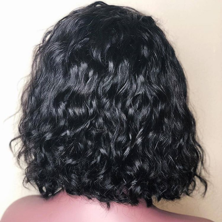 Frontal Wig Wavy Bob Wig  Virgin Human Hair