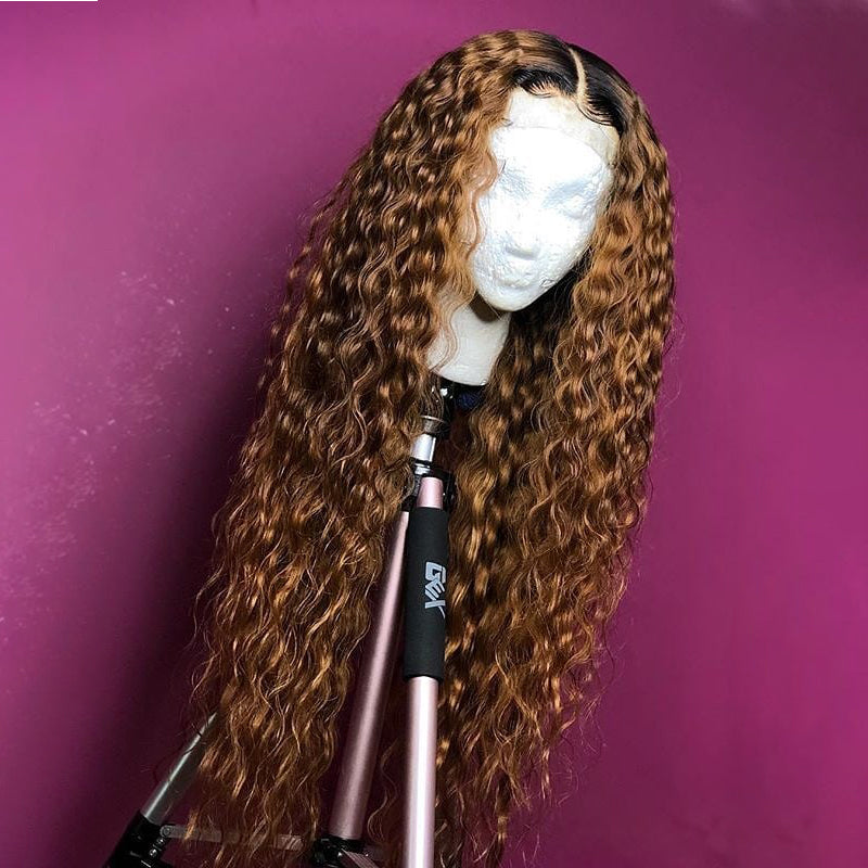 1B/Brown Frontal Wig 100% Virgin Human Hair Wig Deep Curly
