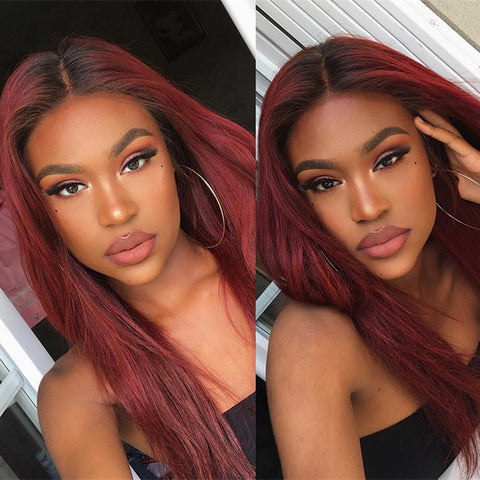 Frontal Wig 100% Virgin Human Hair Wig Straight 1b/613