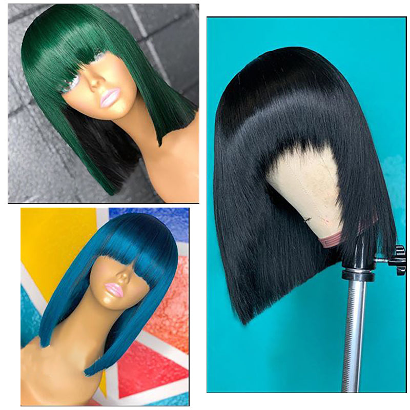 PreColored Bang Bob Wig 100% Virgin Human Hair