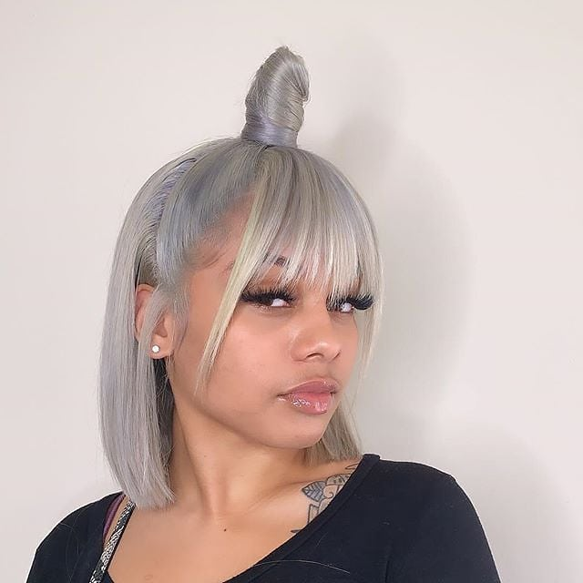 Ash Grey Bob Wig Frontal Lace 100% Virgin Human Hair
