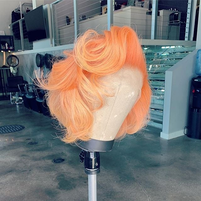 Peach Color Bob Wig Frontal Lace 100% Virgin Human Hair