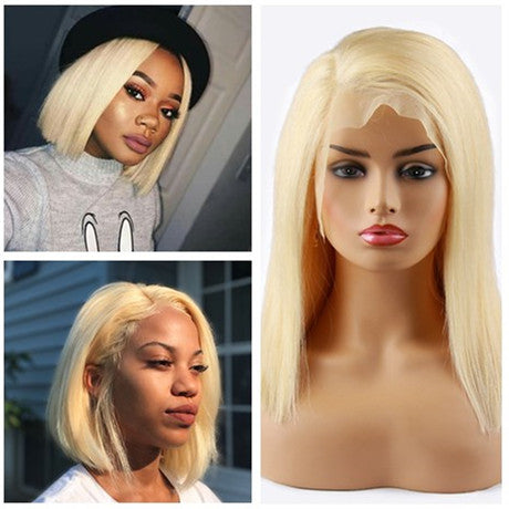 Pink Bob Wig Frontal Lace 100% Virgin Human Hair