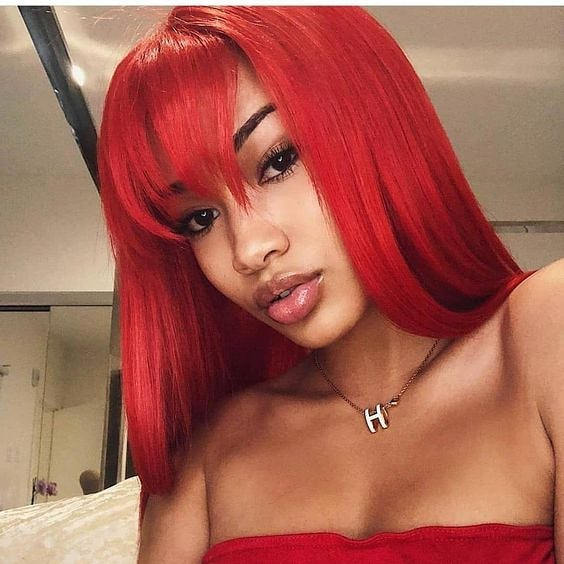 Bang Red Bob Wig Frontal Lace 100% Virgin Human Hair