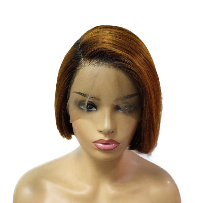 1B/Brown Bob Full Lace Wig Virgin Human Hair Straight
