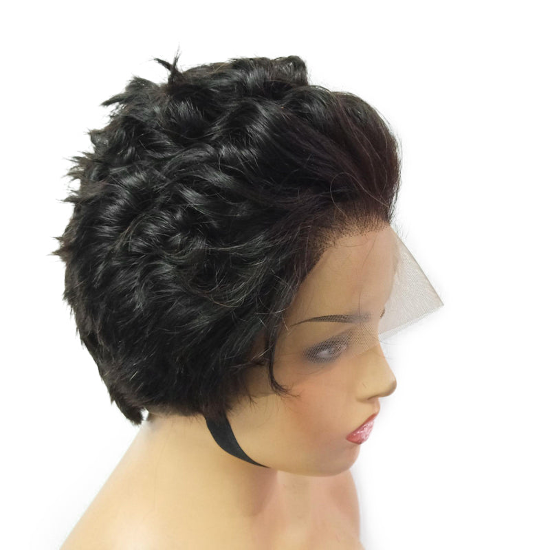 Short Wavy Cut Full Lace Wig Virgin Human Hair
