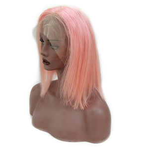 Front Lace Wig Virgin Human Hair Bob Wig Pink Color