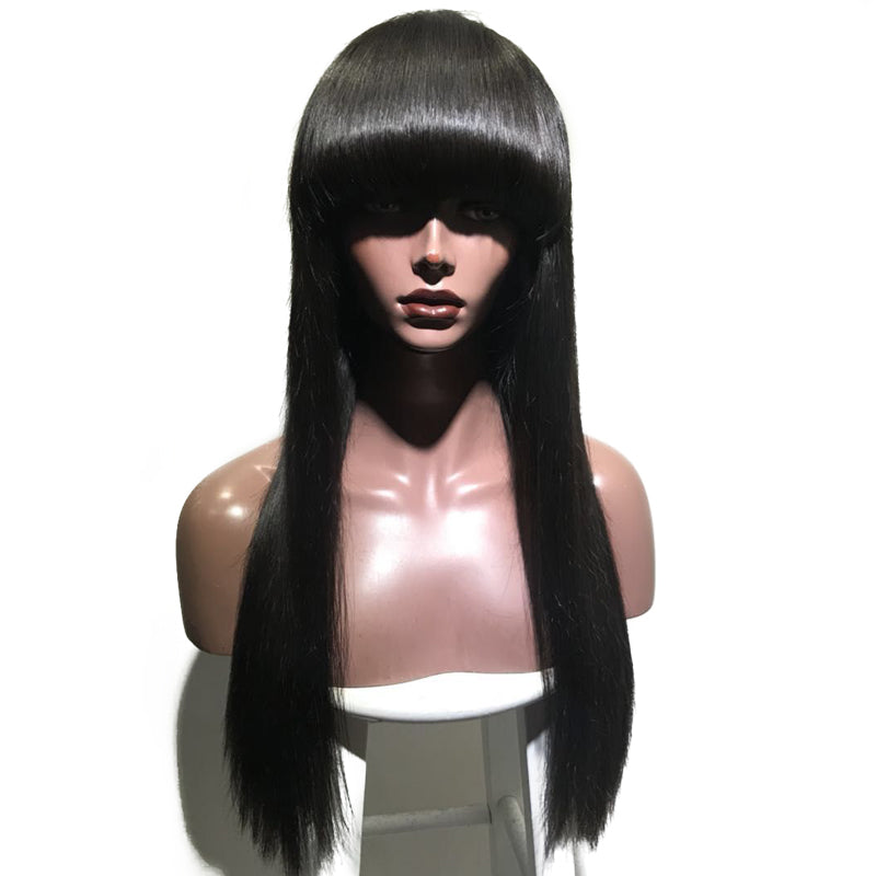 Special Offer--Straight Weft Wig With Bang 100 Virgin Human Hair