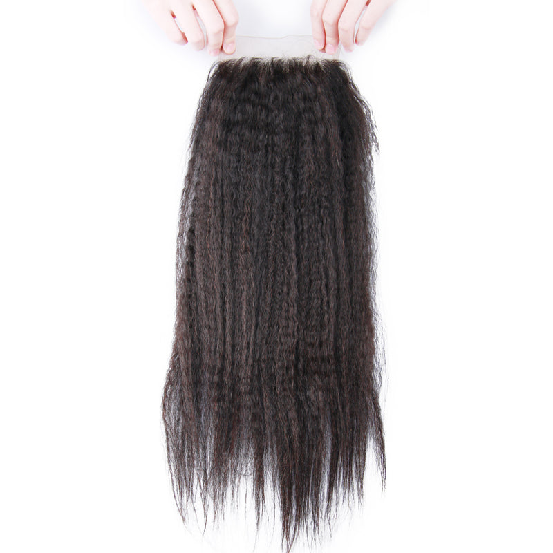 3 Bundles Deal With Closure Peruvian Virgin Hair Kinky Straight